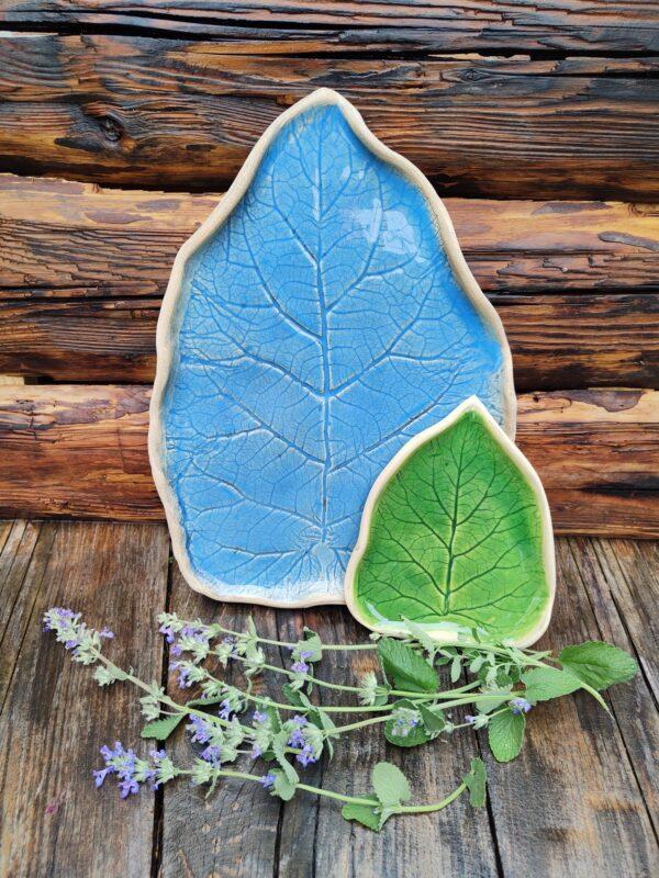 Patera turkusowy liść