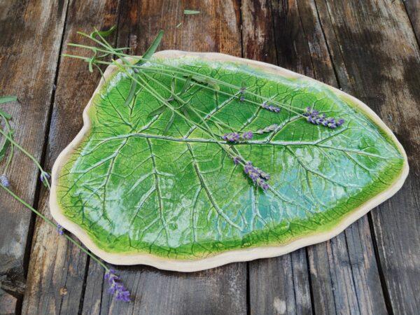 Patera w kształcie liścia, zielona, duża