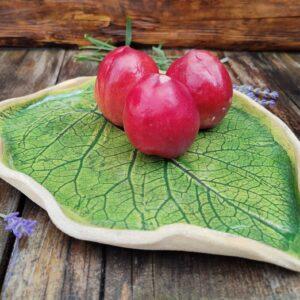 Patera w kształcie liścia, zielona, średnia
